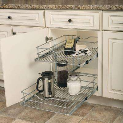 17.625 in. W x 21.75 in. D x 16.25 in. H Double Tier Pull-Out Multi-Use Basket Cabinet Organizer