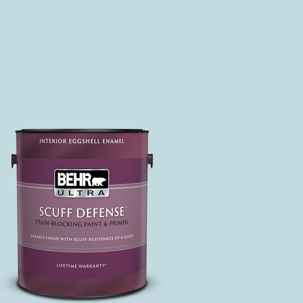Behr Ultra 1 Gal S480 1 Rain Dance Extra Durable Eggshell Enamel Interior Paint And Primer In One 275001 The Home Depot