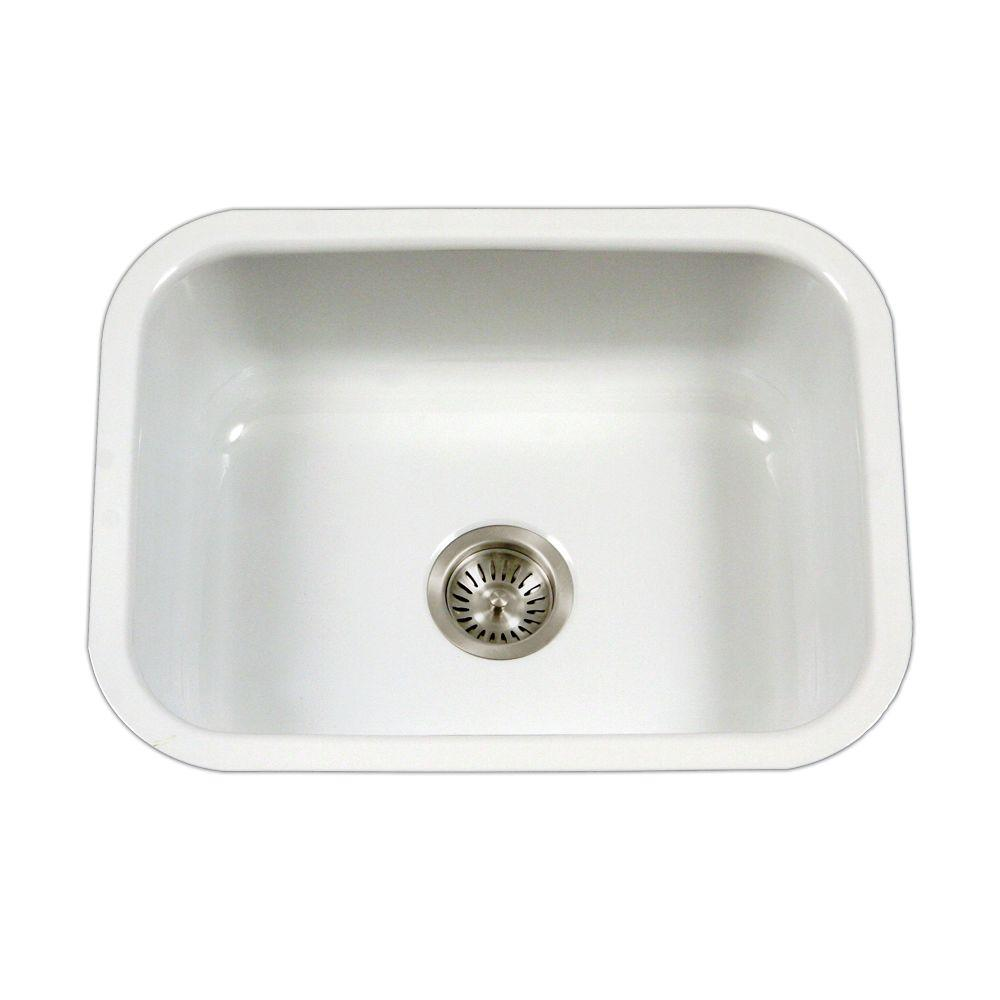 Houzer Porcela Series Undermount Porcelain Enamel Steel 23 In Single Bowl Kitchen Sink White