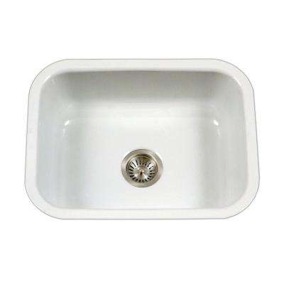 Porcela Series Undermount Porcelain Enamel Steel 23 in. Single Bowl Kitchen Sink in White