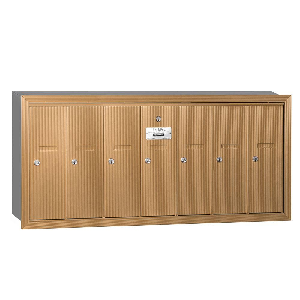 Brass Recessed-Mounted USPS Access Vertical Mailbox with 7 Door