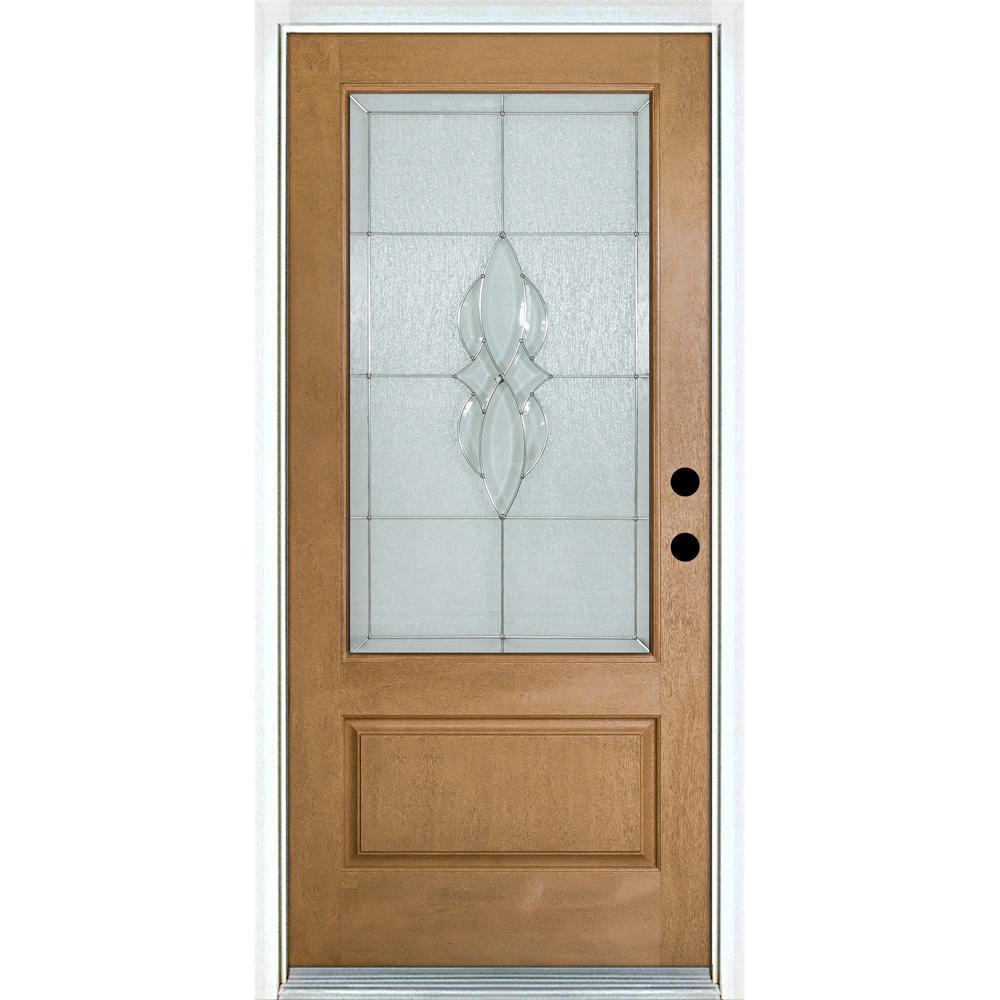 MP Doors 36 in. x 80 in. Scotia Light Oak Left-Hand Inswing 3/4 Lite Decorative Fiberglass Prehung Front Door
