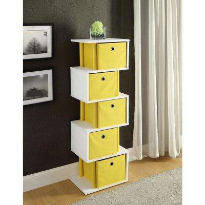 Zig Zag 15 in. W x 11.6 in. D Yellow and White Drawer Storage Decorative Shelf