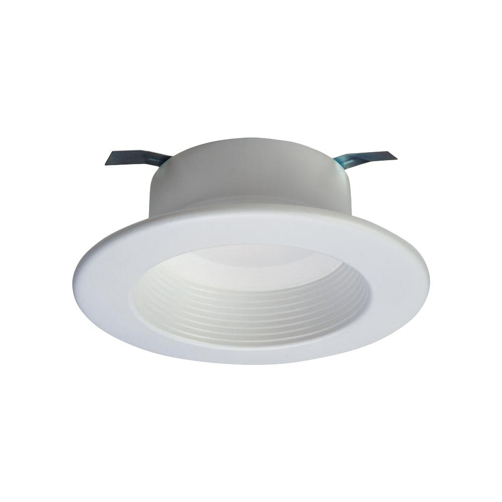 Halo Rl 4 In White Integrated Led Recessed Ceiling Light Fixture Retrofit Baffle Trim With 90 Cri 2700k Warm