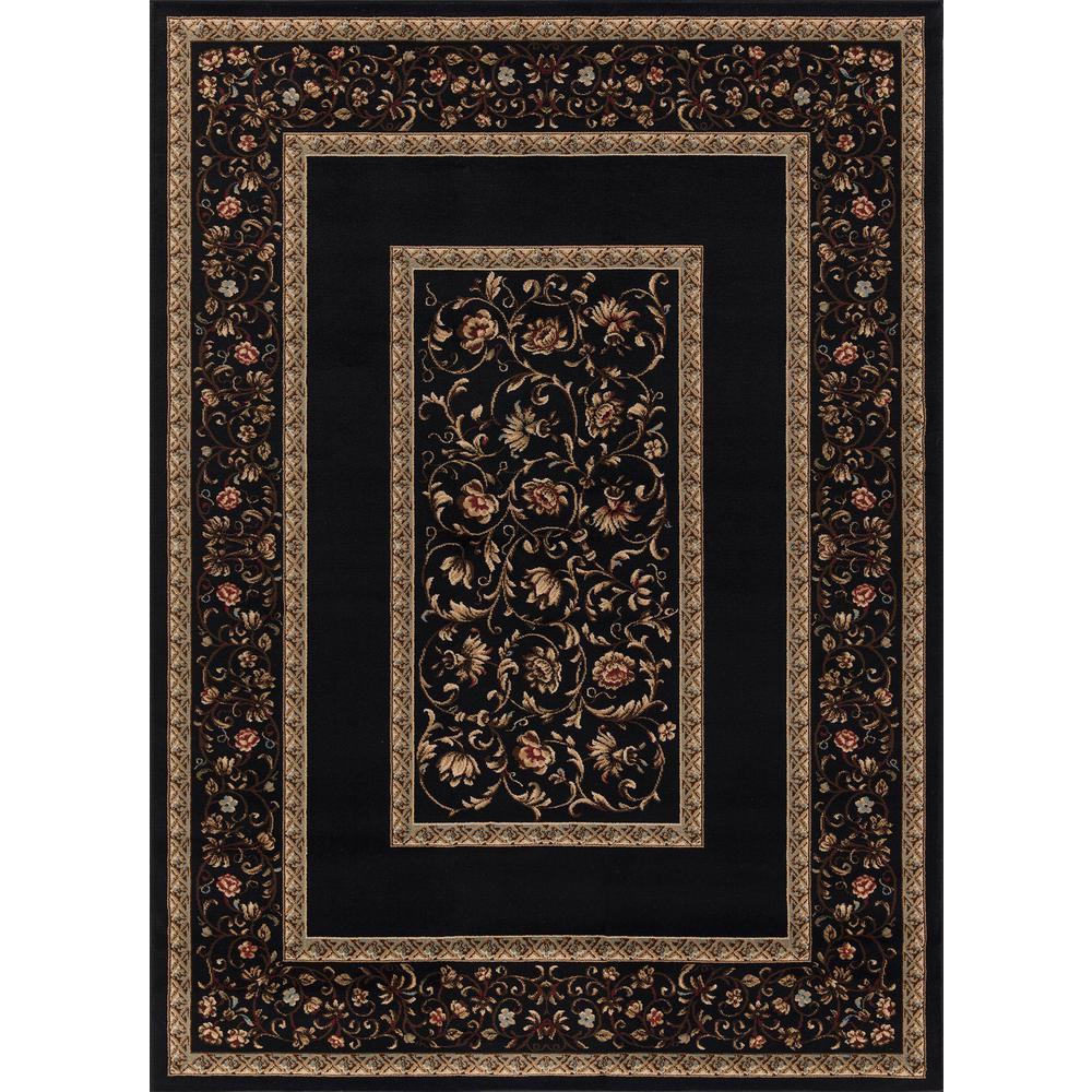 Concord Global Trading Ankara Floral Border Black 7 ft. 10 in. x 10 ft. 10 in. Area Rug