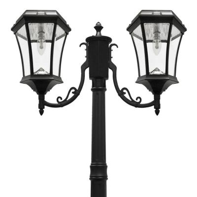 Victorian Bulb Series 2-Head Black Solar Lamp Post with GS Solar LED Light Bulb