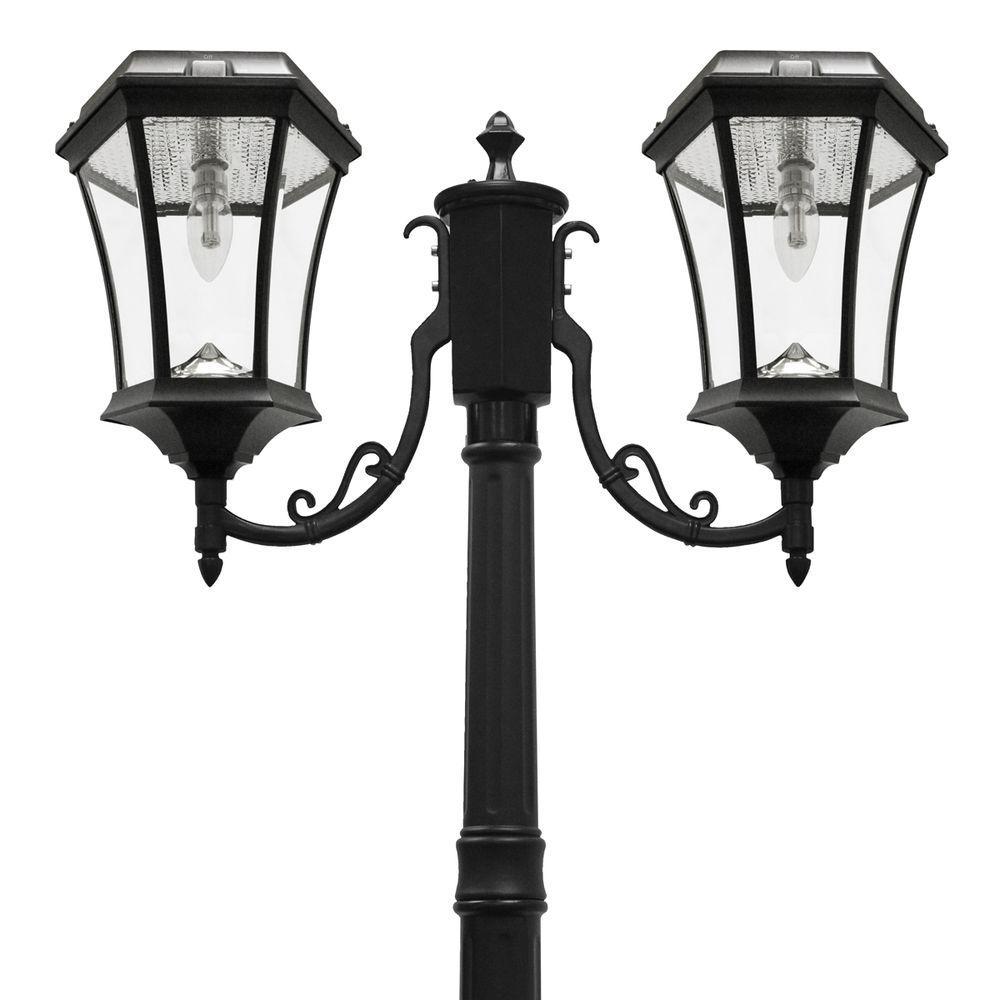 Victorian Bulb Series 2-Head Black Solar Lamp Post with GS Solar LED Light Bulb