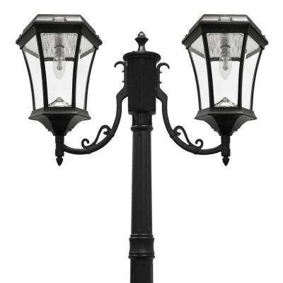 Victorian Bulb Series 2 Head Black Solar Lamp Post With Gs Led Light