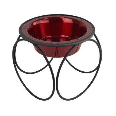3.5 Cup Olympic Single Diner Feeder with Dog Bowl, Candy Apple Red