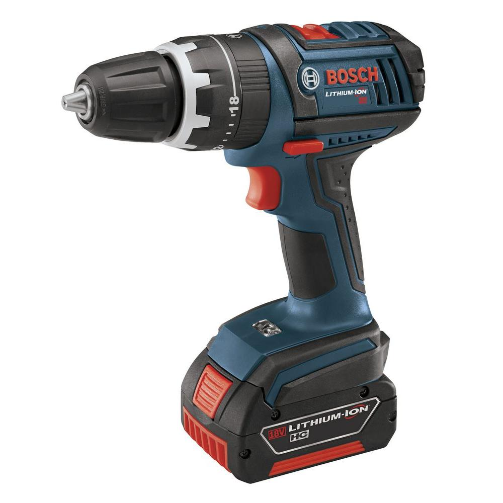 Bosch 18 Volt Lithium-Ion Cordless Compact Variable Speed Hammer Drill/Driver Kit with 2-4.0 Ah Batteries, Charger, and Case