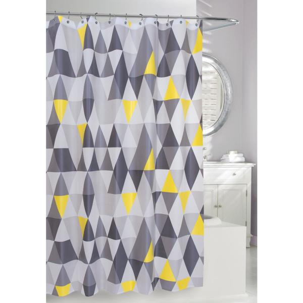 Triangles Peva 71 In X 71 In Yellow Grey Shower Curtain 255103 The Home Depot