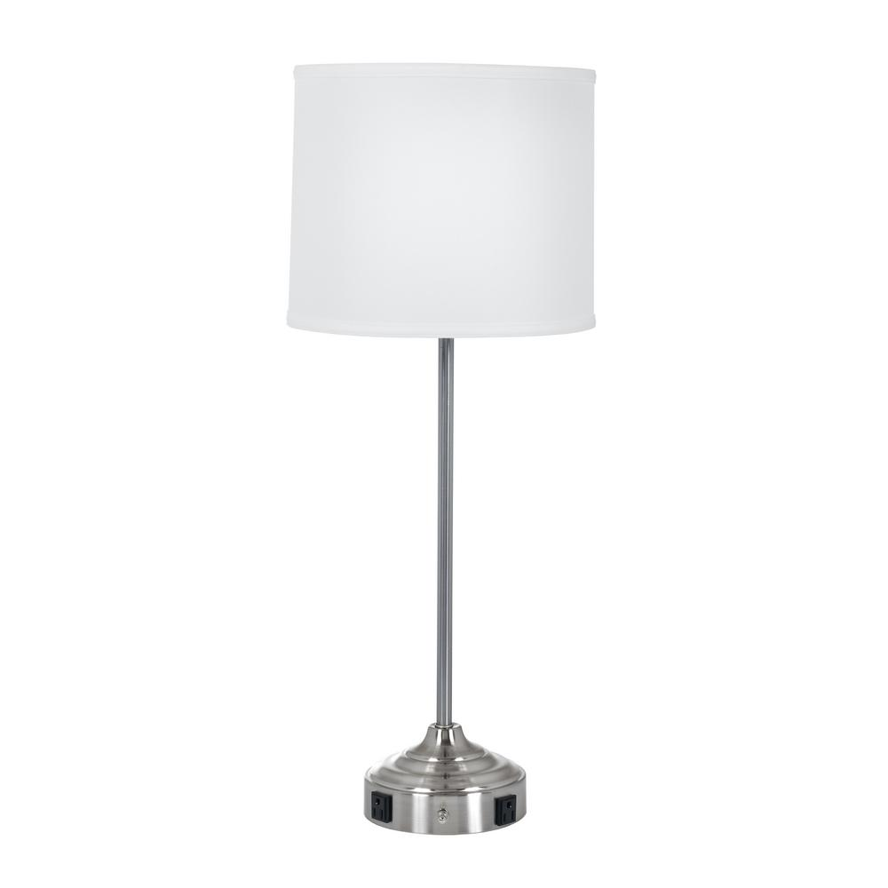 Beau Tech Friendly Brushed Steel Table Lamp With 2 Convenience Outlets