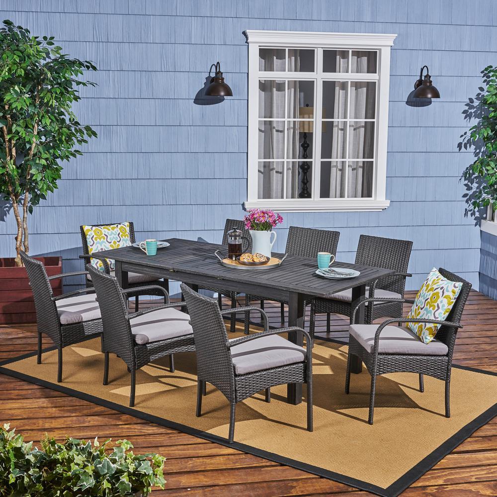 Elmar Dark Grey 9-Piece Wood and Wicker Outdoor Dining Set with Grey Cushions