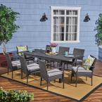 Elmar Dark Grey 9-Piece Wood and Wicker Outdoor Dining Set with Grey Cushions