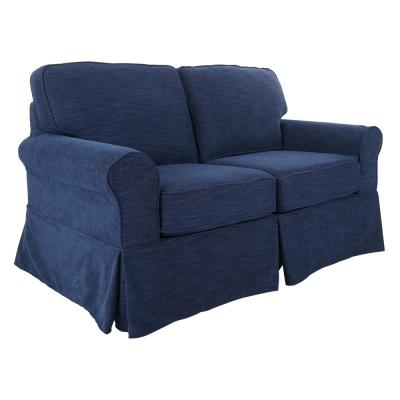 Ashton 37.4 in. Navy Polyester 2-Seater Loveseat with Removable Cushions