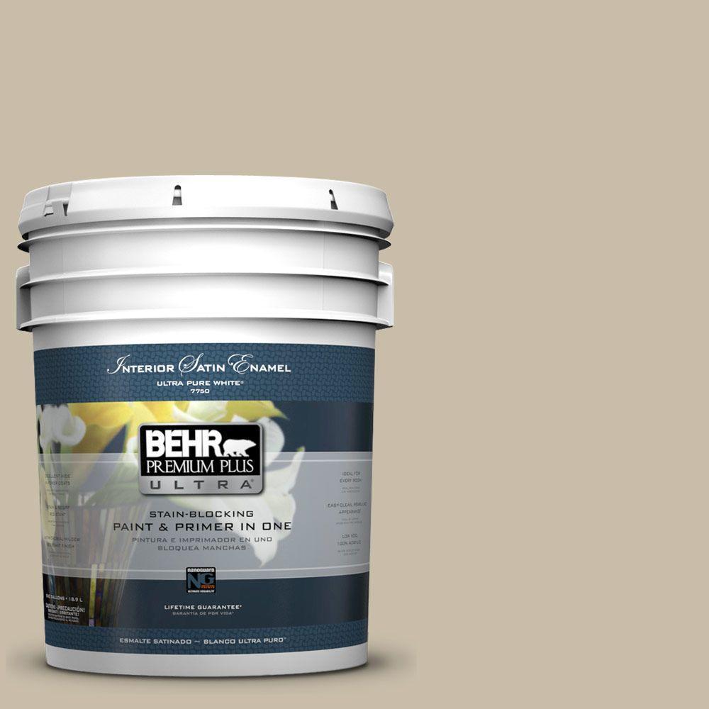 BEHR Premium Plus Ultra 5-gal. #ECC-64-1 Jungle Khaki Satin Enamel Interior Paint