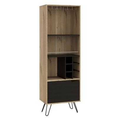 Aster 71 in. x 24 in. Natural Wood High Bar Cabinet with 6-Compartments