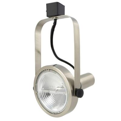 1-Light Brushed Nickel Rear Loading Gimbal Commercial Track Head