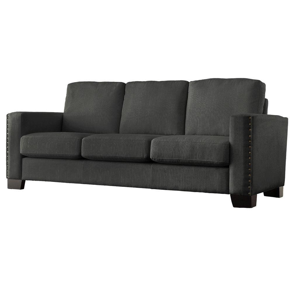 homesullivan durham grey linen sofa 409913gl 3tlasofa the home depot. Black Bedroom Furniture Sets. Home Design Ideas