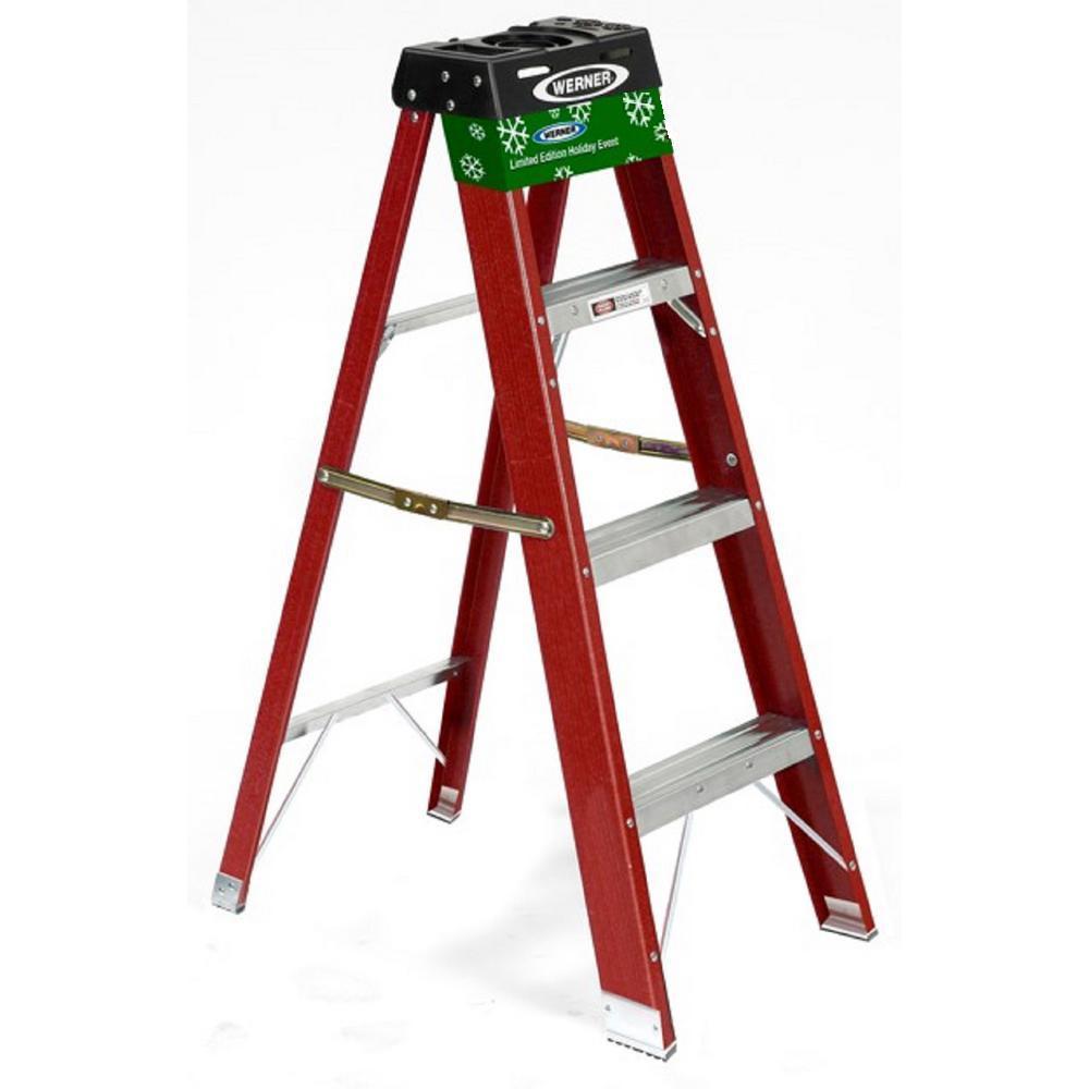 Werner 4 Ft Red Fiberglass Step Ladder With 225 Lb Load