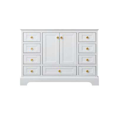 47 in. W x 21 in. D Audrey Vanity Cabinet Only in White with Gold Hardware
