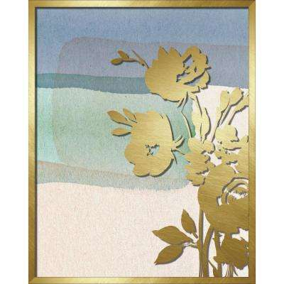 """16 in. x 20 in. """"Blue Abstract Watercolor W. Peony Silhouette"""" Shadowbox Wall Art"""
