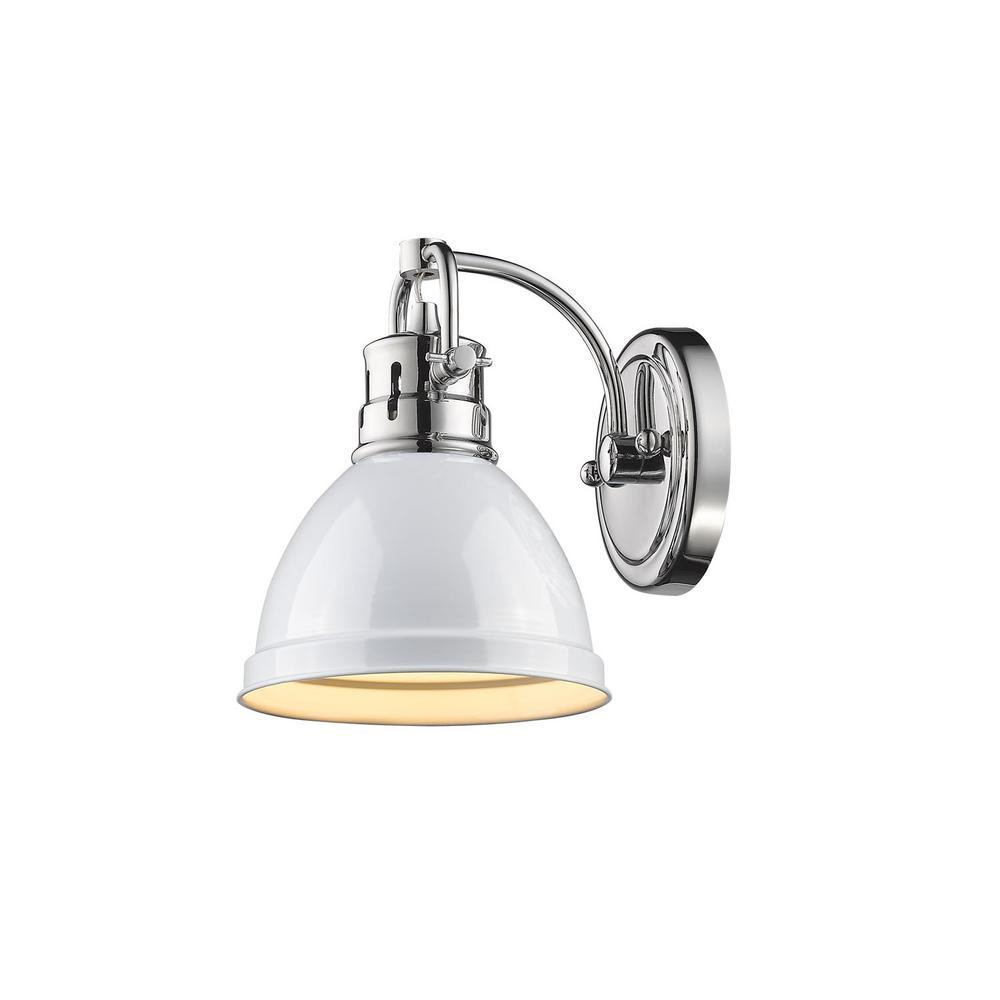 Duncan Chrome 1-Light Bath Light with White Shade