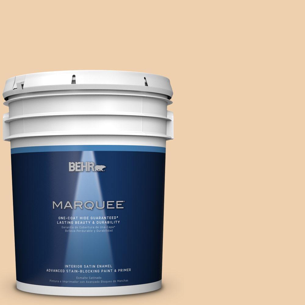 5 gal. #MQ3-43 Ceramic Beige One-Coat Hide Satin Enamel Interior Paint