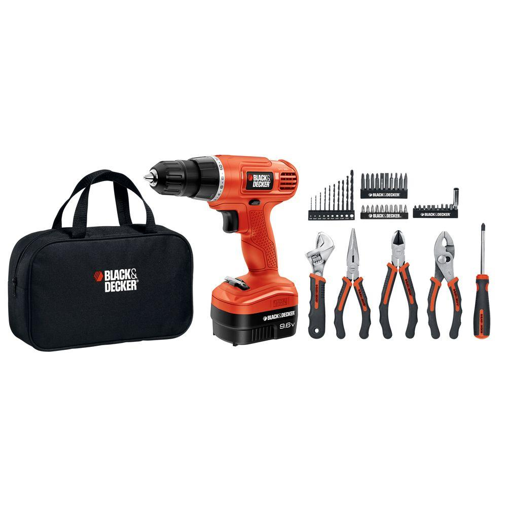 BLACK+DECKER 9.6-Volt NiCad Project Kit with Cordless Drill (47-Piece)