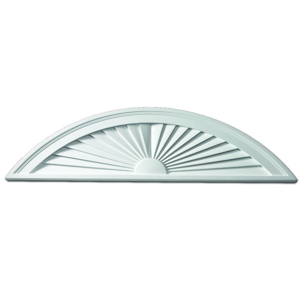 Fypon 68 in. x 14 in. x 1-3/4 in. Polyurethane Segment Sunburst Pediment