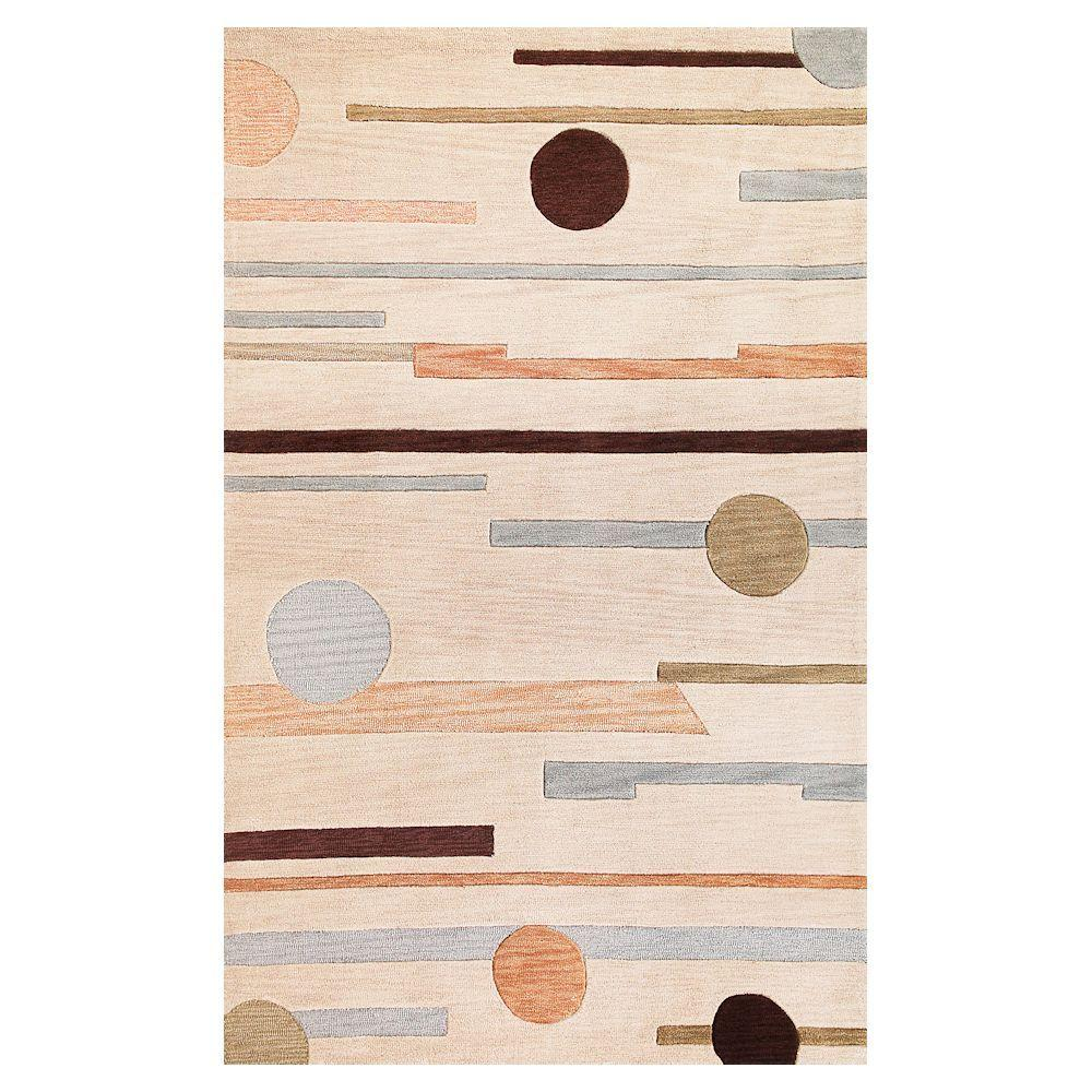 Kas Rugs Linear Rise Beige 5 ft. x 7 ft. 6 in. Area Rug