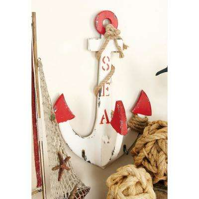 Vintage White Anchor Wall Hook Rack with Jute Rope-Wrap and Red Tips