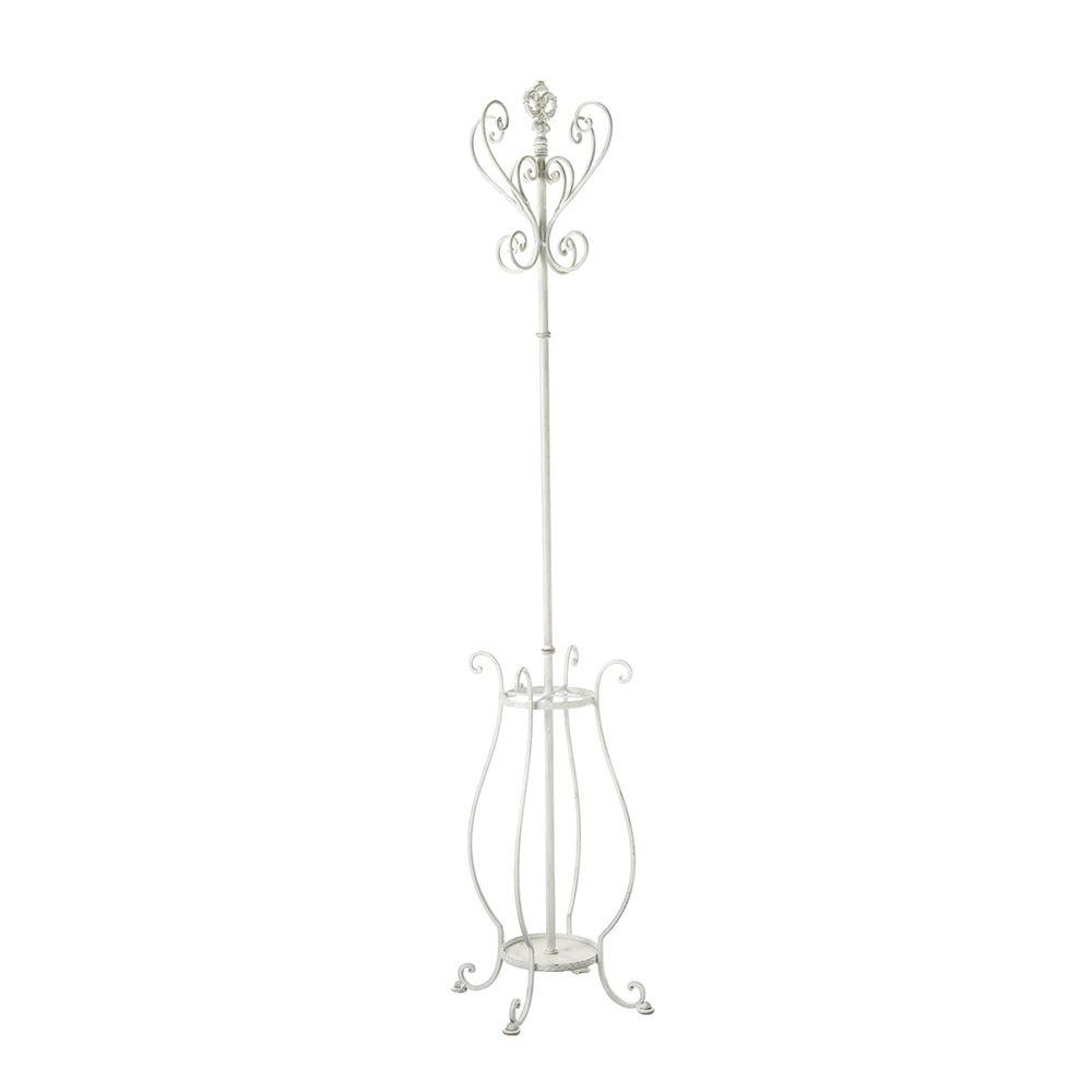 Filament Design Sundry 4-Hook Iron Coat Rack with Umbrella Stand in White-DISCONTINUED