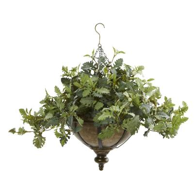 23 in. Dusty Miller Artificial Plant in Hanging Bowl