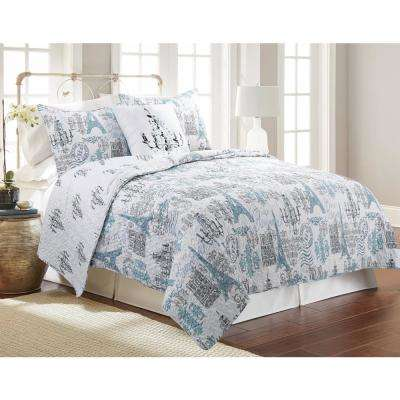 Solaine Gray Full and Queen Quilt Set