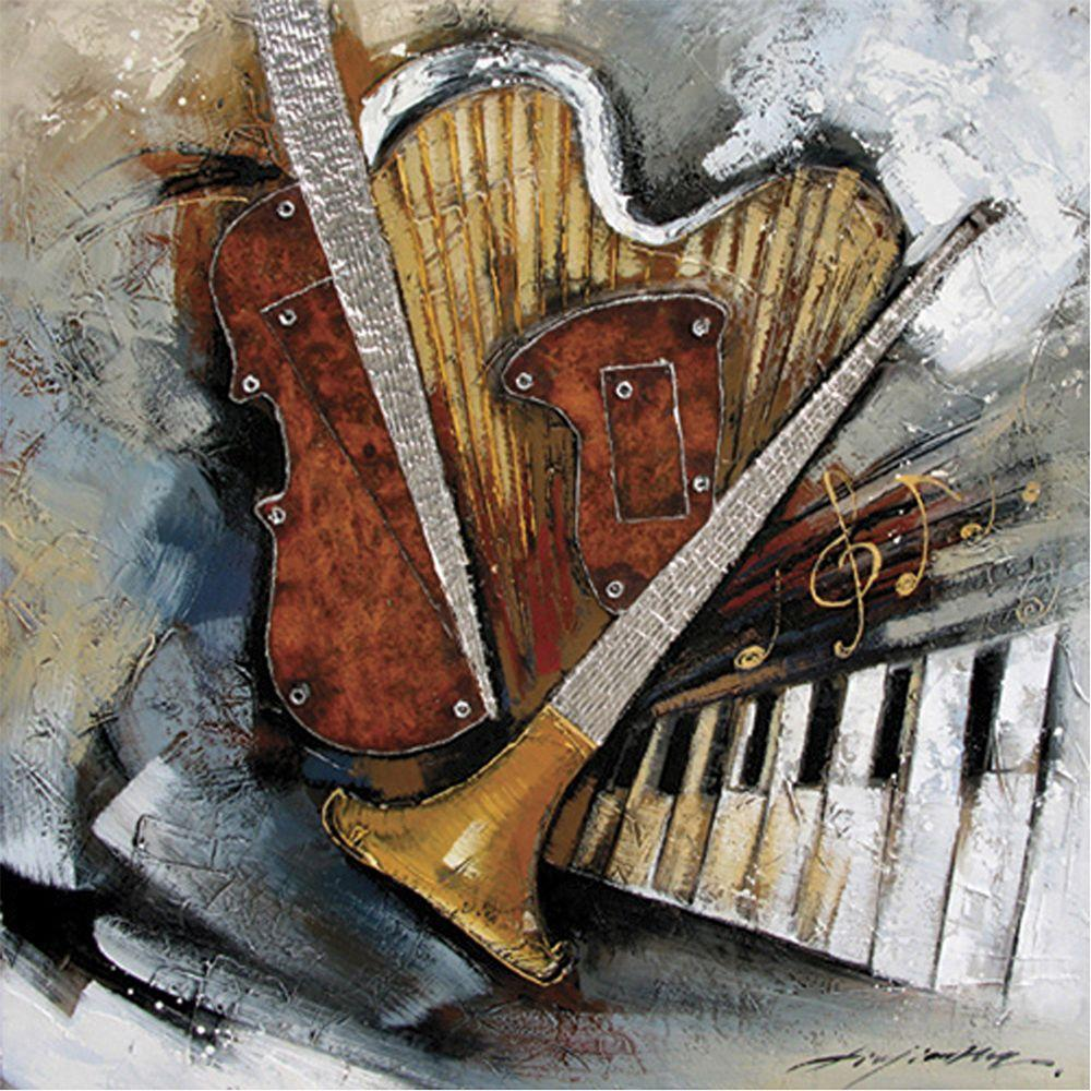 Yosemite Home Decor 39 in. x 39 in. Instruments Hand Painted Contemporary Artwork-DISCONTINUED