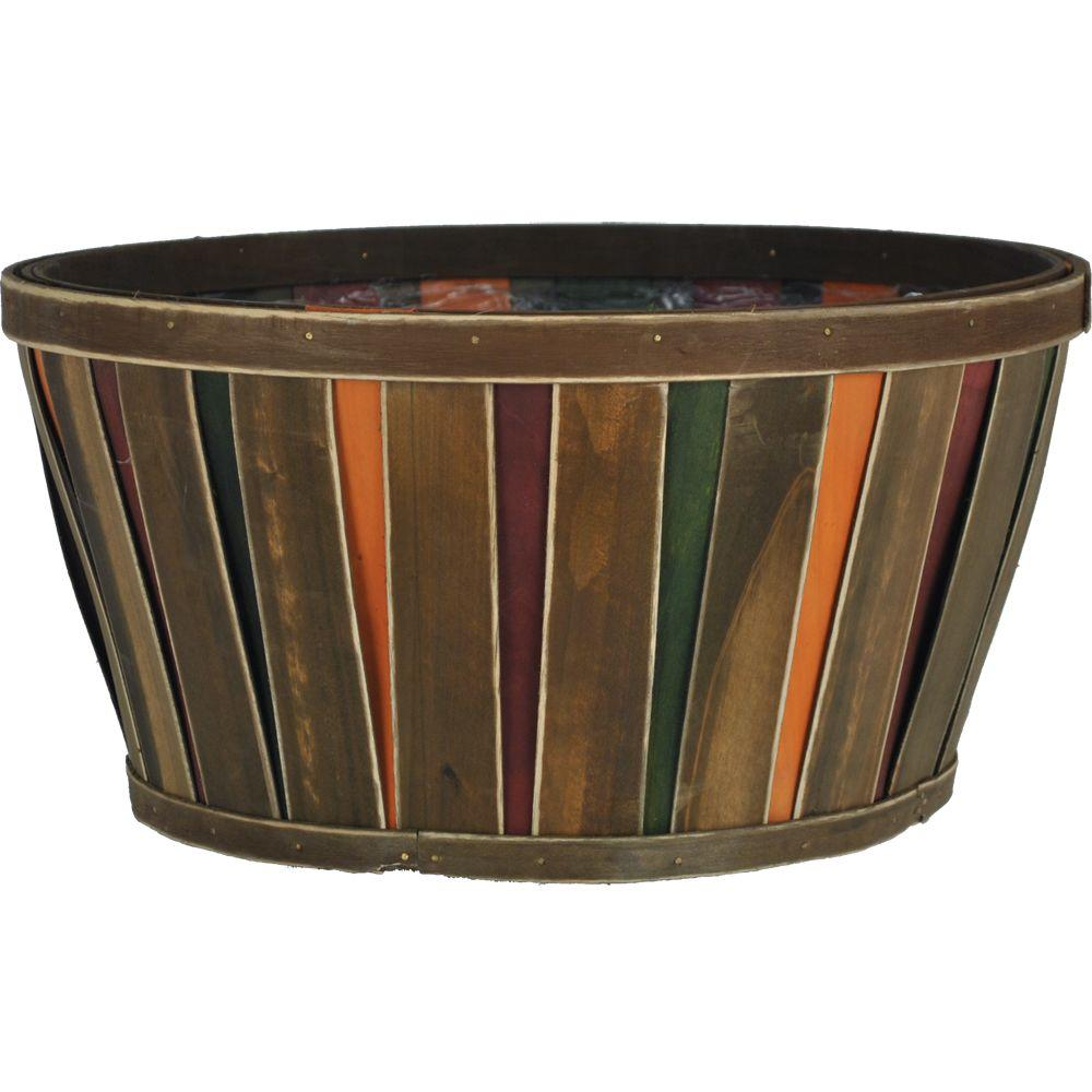 14 in. Wood Multicolor Bushel Basket, Brown/Red/Green/Yellow