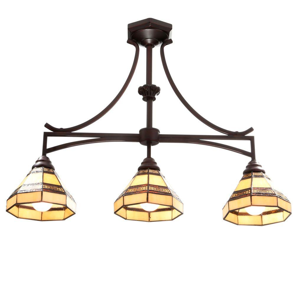 Hampton Bay Addison 3-Light Oil Rubbed Bronze Kitchen Island Light with Tiffany Style Stained Glass Shades
