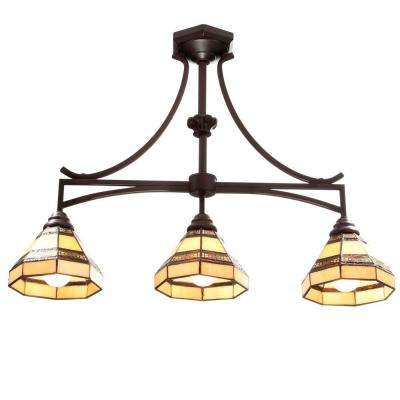Addison 3-Light Oil Rubbed Bronze Kitchen Island Light with Tiffany Style Stained Glass Shades