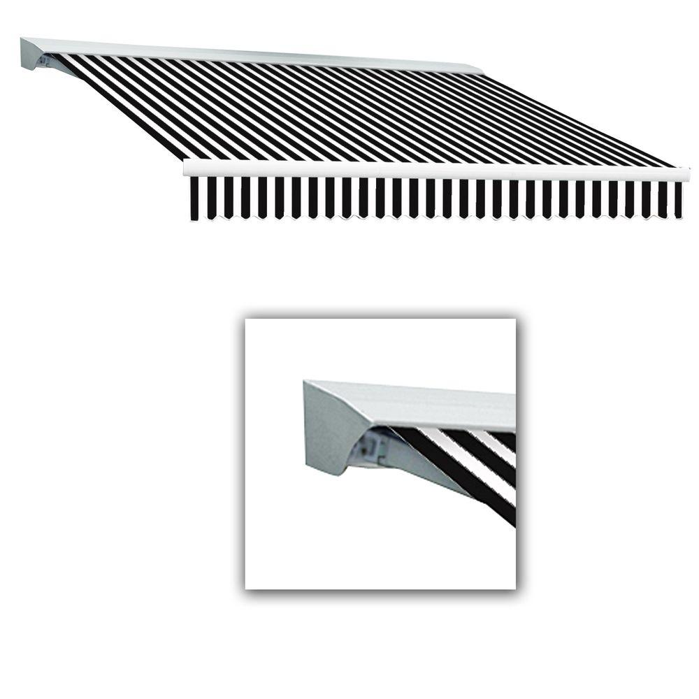 AWNTECH 8 ft. Destin-LX Manual Retractable Acrylic Awning with Hood (84 in. Projection) in Black/White