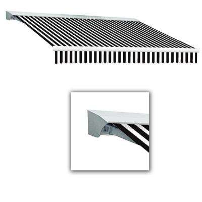 10 ft. Destin-LX with Hood Manual Retractable Awning (96 in. Projection) in Black/White
