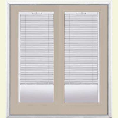 72 in. x 80 in. Canyon View Prehung Right-Hand Inswing Mini Blind Steel Patio Door with Brickmold