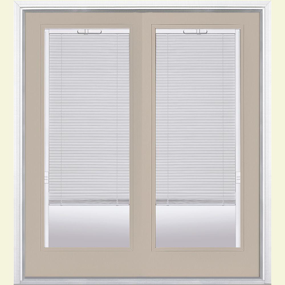 Prehung Mini Blind Primed Steel Patio Door with Brickmold