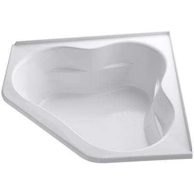 Tercet 5 ft. Corner Drop-in Center Drain Soaking Tub in White