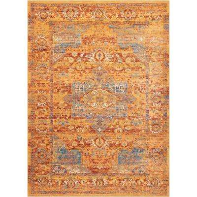 Delmar Blue/Russet 9 ft. 10 in. x 13 ft. 2 in. Area Rug