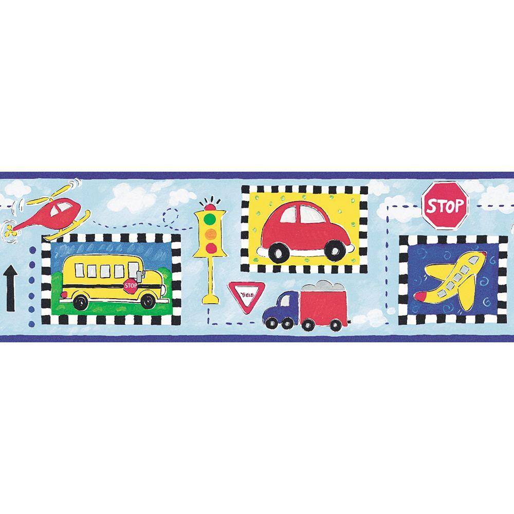 The Wallpaper Company 6.87 in. x 15 ft. Blue Transportation Border-DISCONTINUED