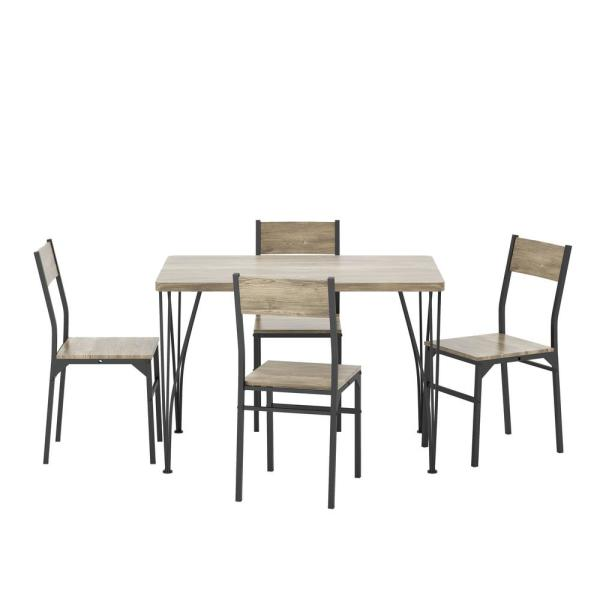 Dans 5-Piece Gray and Bronze Dining Set