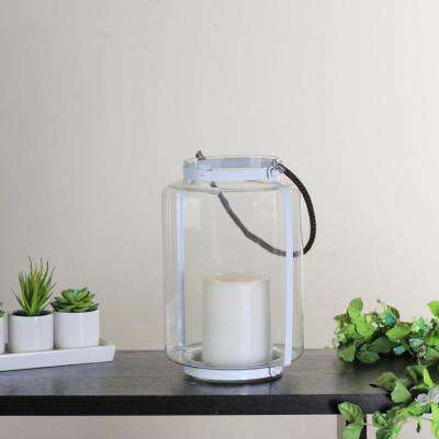 18 in. Clear Glass Hurricane Lantern Candle Holder