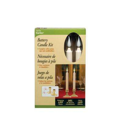 9 in. Ivory Wireless LED Candle with Brass Finish Base Amber Flame (2-Pack)