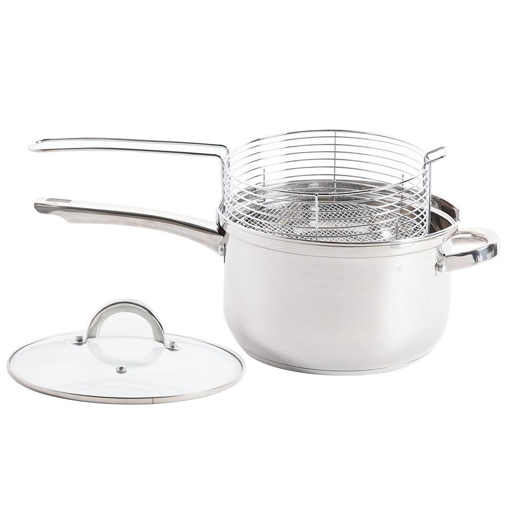Oster Sangerfield 3 Piece Stainless Steel Deep Fryer Sauce Pan And Frying Basket Set With